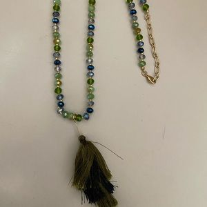 Glass tassels multi colored necklace